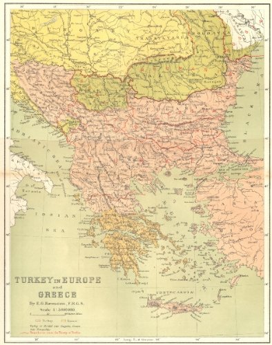 Amazon.com: GREECE. Turkey in Europe, E Ravenstein - c1885 - old map ...