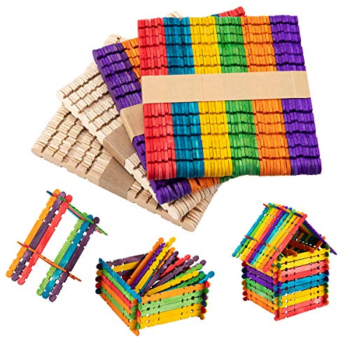 Anphsin 200 Pcs Colorful Sawtooth Wood Craft Sticks