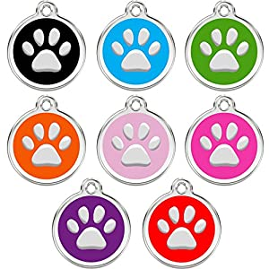 CNATTAGS Stainless Steel with Enamel Pet ID Tags Designers Round Paw (Black)