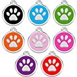 CNATTAGS Stainless Steel with Enamel Pet ID Tags Personalized (Round Paw)