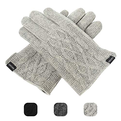 - CACUSS Men's Winter Wool Knit Gloves Touchscreen Texting Finger Tips with Warm Fleece Lining (Light gray)