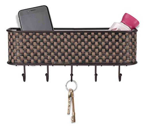 Home Basics Wall Mount Mail Letter Organizer Basket Shelf and 5 Key Hook/Holder in Brown Weave by Home Basics