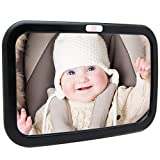 Backseat Baby Car Mirror — Extra Large — Ideal for Rear-Facing Infant Car Seats — Adjustable, 360 Degree View — Crystal Clear Viewing — Shatterproof