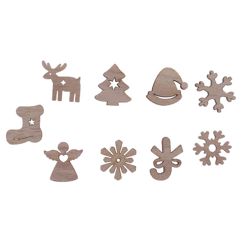 SimpleLife 50 Pezzi Ornamenti per Alberi in trucioli di Natale Ciondolo Appeso Fiocco di Neve Alce Stivali Dischi Ornamenti per Decorazioni per Feste di Natale