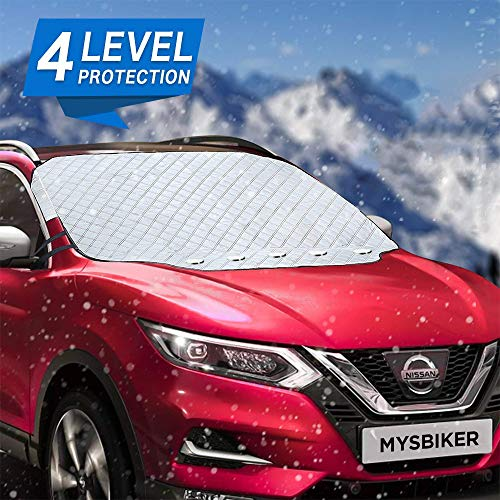 Windshield Cover, MYSBIKER Car Snow Windshield Cover ice Removal with 5 Magnetic and 4 Layers Protection, Windshield Protector Snow Wiper Protection Cover Fits Most of Car
