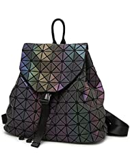 Geometric Lattice Backpack Travel School Bag Drawstring Rucksack for Women Biker Teens (Luminous)