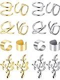 ear clips earrings - Blulu 8 Pairs Non Piercing Stainless Steel Ear Cuff Set Cartilage Cuff Clip On Earrings Fake Ear Cuff for Women (Steel and Gold)