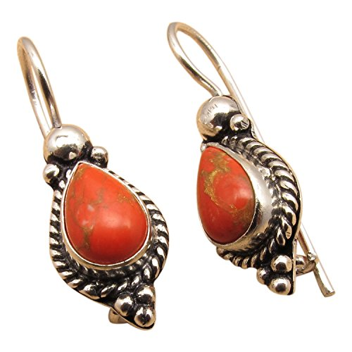 925 Sterling Silver Plated Oxidized Ethnic Style Teardrop Dangle Earrings ! Natural Gemstones Jewelry