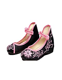 Tianrui Crown Girl's Embroidery Flat Ballet shoes Kid's Cute Mary-Jane Dance Shoe Flat Sandal Shoe
