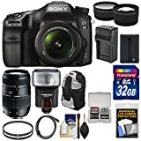 Sony Alpha A68 Digital SLR Camera & 18-55mm with 70-300mm Lens + 32GB Card + Battery & Charger + Backpack + Flash + Tele/Wide Lens Kit