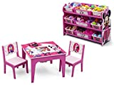 Delta Children Disney Minnie Mouse Table and Chair Set with Storage and Disney Minnie Mouse 9-Bin Toy Organizer/Storage, Bundle