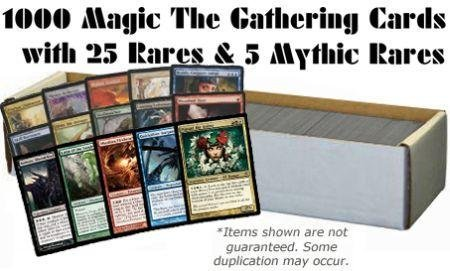 MTG 1000 Magic The Gathering Cards with 25 Rares & 5 Mythic Rares All Magic: The Gathering Lots - Collection Mtg