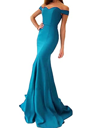 XingMeng Womens Mermaid Prom Dresses Off Shoulder Evening Bridesmaid Dress Blue ...