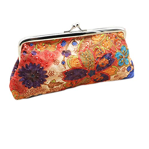 Embroidered Coin Purse - AYUBOOM Clutch Wallet Flower Embroidered Kiss-lock Coin Purse Wallet (Orange)