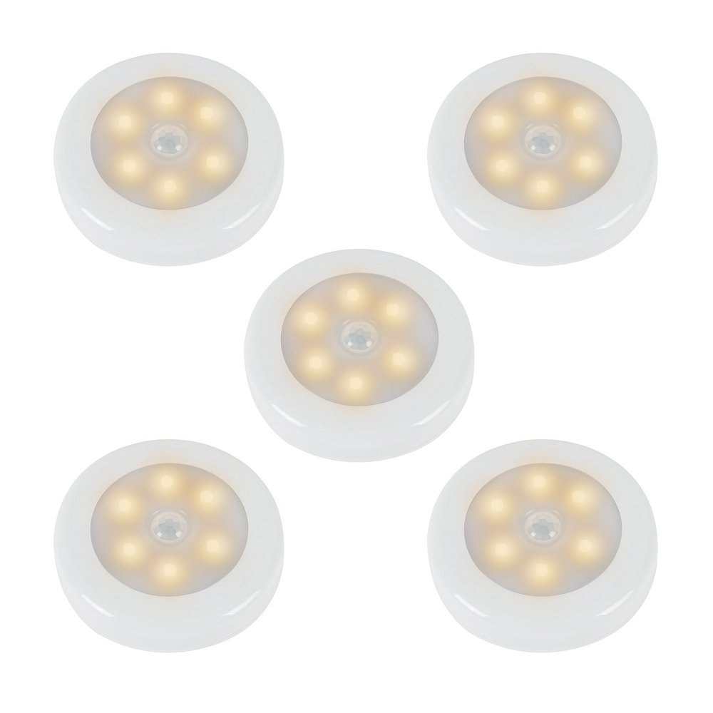 Mopos ワイヤレスモーションセンサー 階段 廊下 クローゼット キッチン トイレ用ナイトライト 5個パック MSL003-5-Y B01LMW5IE2 16203 Warm Yellowish Warm Yellowish