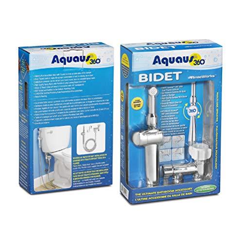 RinseWorks - Aquaus 360 Patented Hand Held Bidet Sprayer - NSF cUPC Certified for Legal Installation - 2 Backflows - Dual Pressure Controls - StayFlex Hose - 3 to 11 Inch Spray reach - 3 Year Warranty