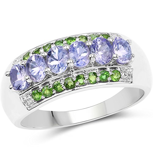 1.34 Carat Genuine Tanzanite & Chrome Diopside .925 Sterling Silver (Designer Diopside Ring)