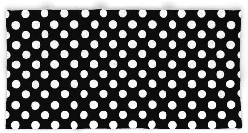 91,44 x 137,1 cm Blanco//Negro Donola Toalla de ba/ño Lunares