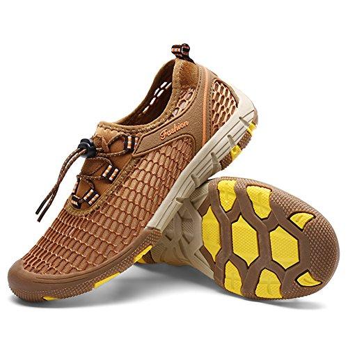 Saguaro Mens Mocassini Slip-on Mesh Shoes Beach Casual Aqua Water Shoes Moda Sneakers Marrone