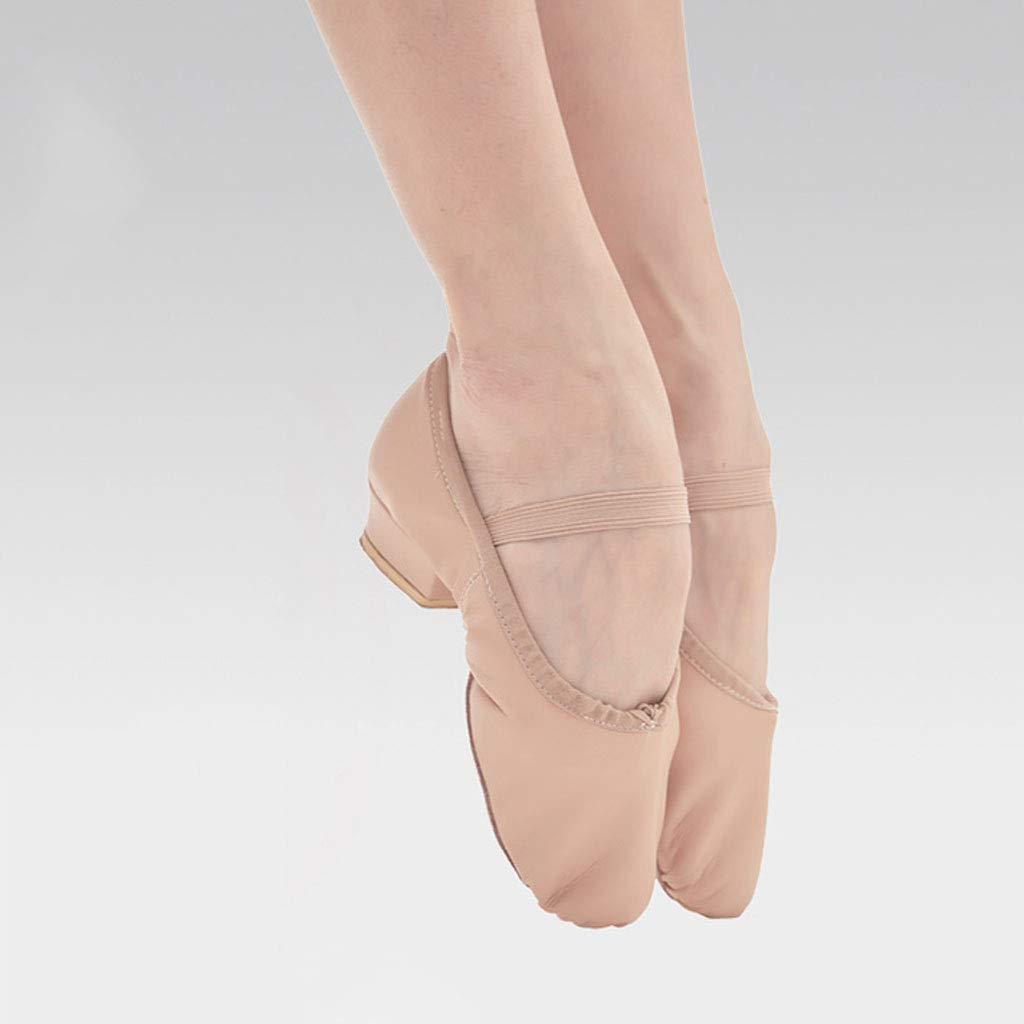 Ballet Shoes,Leather Split Sole Gymnastics Dance Shoes Flats for Girls Women Adults Black Size