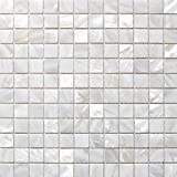 Mother of Pearl Mosaic Tiles River Bed Nature Pearl Shell Mosaic Pure White Square Shell Tiles 20MM