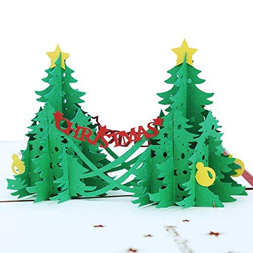 angel3292 Creative 3D Pop Up Merry Christmas Tree Greeting Card Xmas Decor