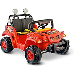 Musical-Sounds-Adjustable-Seat-Rollin-Rambler-Operated-Ride-On-Red