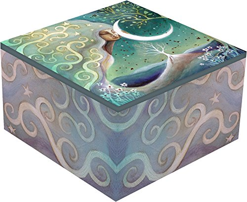 Gorgeous and Spiritual Earth and Moon Square Jewelry Box By Haysom Interiors (Hardwood Box With Lid compare prices)