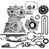 NEW TK10120TCOP 22RE Timing Cover, HD Heavy Duty Chain Kit, and Oil Pump Set (W/ 2 Metal Guide Rails and Bolts)