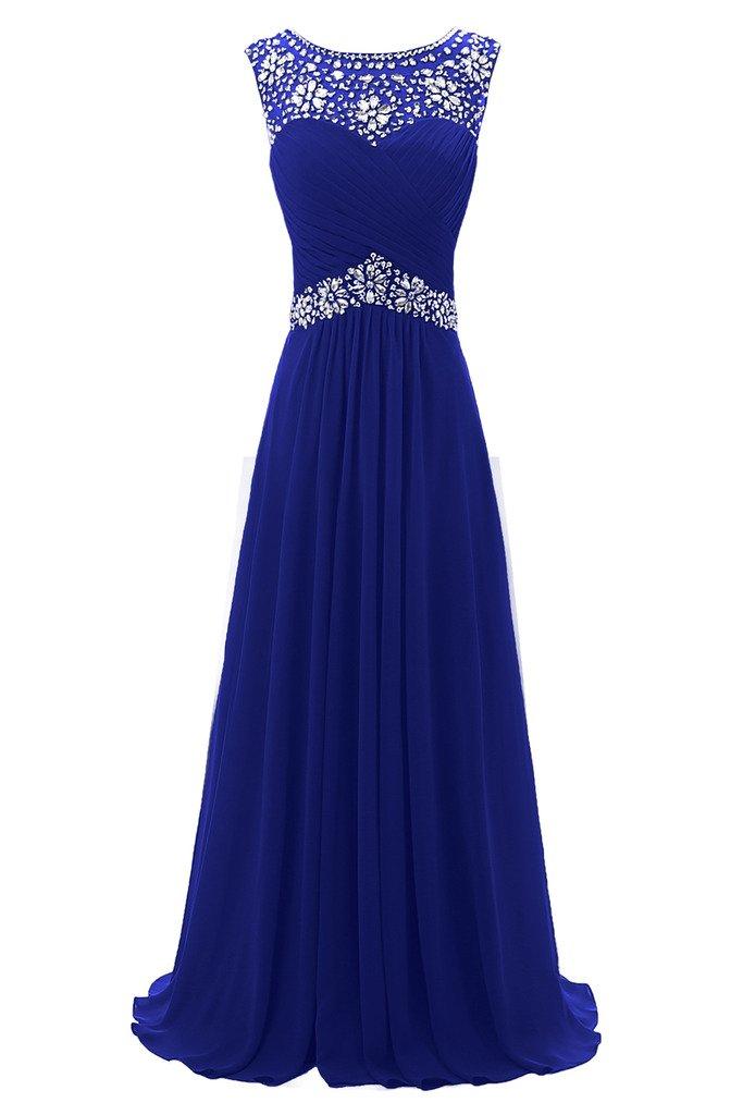 Ellames Beaded Straps Long Prom Dress Floor Length Evening Gowns Royal Blue US 24Plus