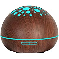 Essential Oil Diffuser 300ml MOOVIE Wood Grain Aromatherapy Diffuser Long Lasting Ultrasonic Cool Mist Aroma Humidifier 8 LED Colorful Light with Adjustable Mist Mode for Home Office Spa