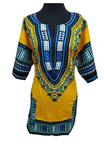 Traditional Unisex 100% Cotton Dashiki Top,One Size,Yellow