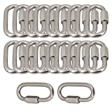 Yibuy 20Piece 29mm Wide Multifunction Silver Oval M6 Screwlock Carabiner D-ring Link