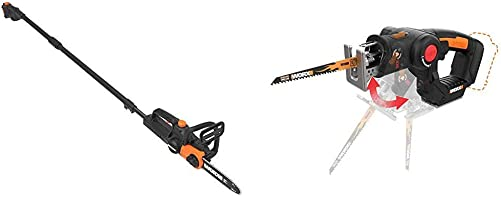 WORX WG323 20V 10 Cordless Pole Chain Saw with Auto-Tension, Black with WX550L.9 20V AXIS 2-in-1 Reciprocating Saw and Jigsaw with Orbital Mode, Variable Speed and Tool-Free Blade Change