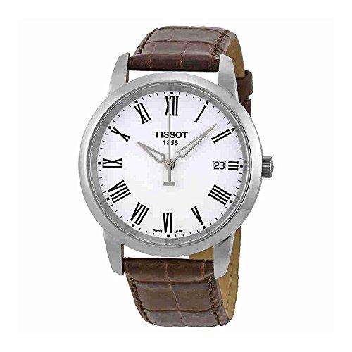 Tissot Men's T0334101601300 T-Classic Dream White Dial Brown Leather Strap ()