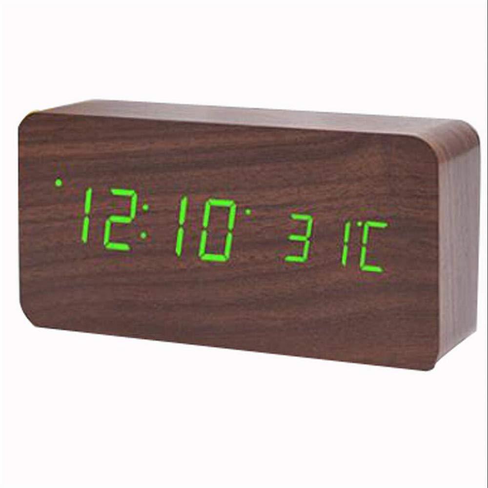 Ahorre 60% de descuento y envío rápido a todo el mundo. Reloj electrónico electrónico electrónico Creativo con Pantalla Dual LED Reloj Digital con led Reloj de Alarma Reloj de Silencio de Madera, D  producto de calidad