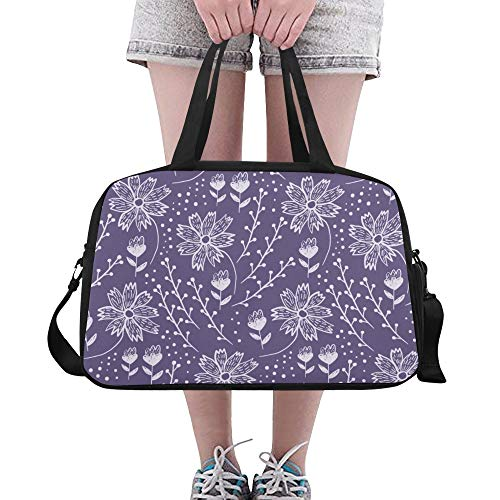 Violet Flowers Purple Romantic Large Yoga Gym Totes Fitness Handbags Travel Duffel Bags Shoulder Strap Shoe Pouch For Exercise Sport Luggage For Girl Men Womens Outdoor Picnic Dance ()