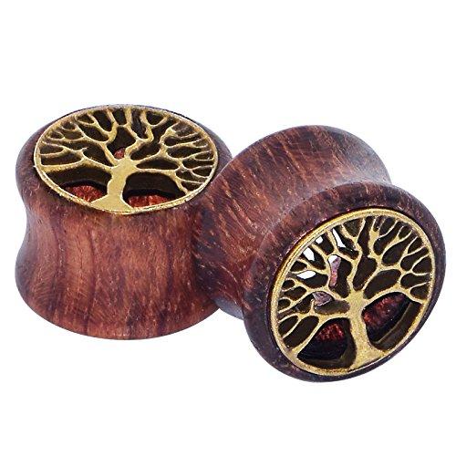 D/&M Jewelry 4pcs Sono Wood Tree 00g-3//4 Buddha Tunnels Earrings Plugs Expander Gauges
