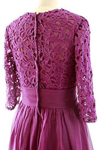 Lace Dress Sleeve Short Formal of Mother MACloth Weinrot Gown 3 4 Bride Women Evening IaqnxwCZ