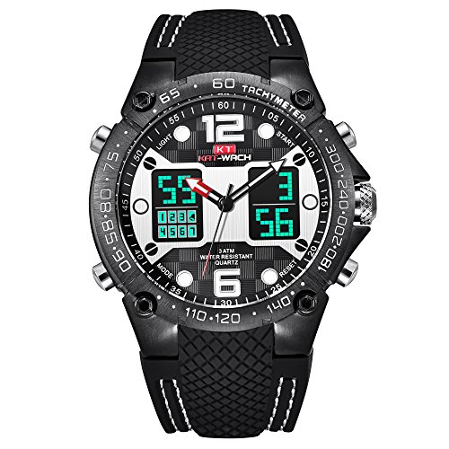 Watch,Mens Watch,Sports Outdoor Digital Chronograph Watch WIth Dual Time Display,Fashion LED Back Light Waterproof Calendar Wrist (Dual Time Chronograph)