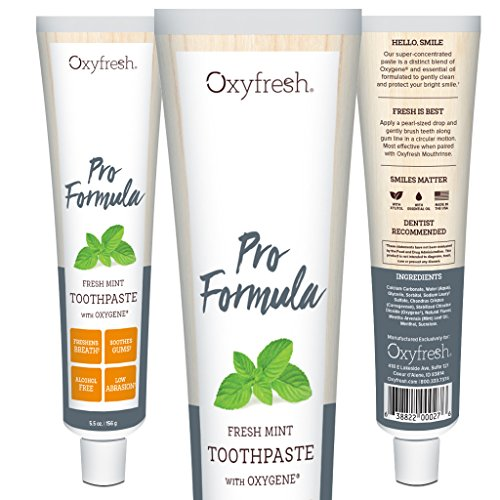 Oxyfresh Pro Formula Toothpaste: For Long-Lasting Fresh Breath & Healthy Gums. Dentist recommended. No Artificial Colors, Low-Abrasion and Gentle.