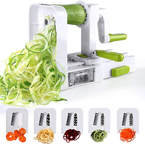 Spiralizer 5-Blade Vegetable Spiralizer Sedhoom Foldable Spiral Slicer Zucchini Noodle & Veggie Pasta & Spaghetti Maker for Low Carb/Paleo/Gluten-Free Meals