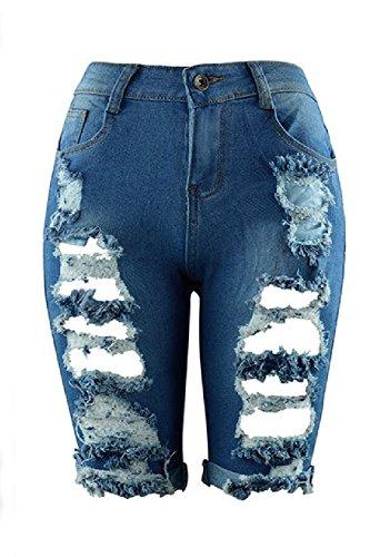 Jeans Strappati I Estate Alto Occasionale Donne Fasumava Buco Pantaloni Vita Blu In ZqgCwv