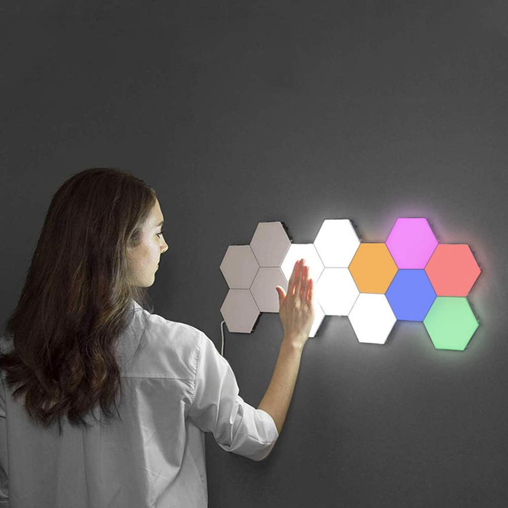 Quantum Hexagonal LED Wall Lamps Without Power Supply