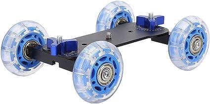 Blue /& Black Vaorwne Table Top Dolly Car Skater Track Slider Super Mute for DSLR Camera Camcorder