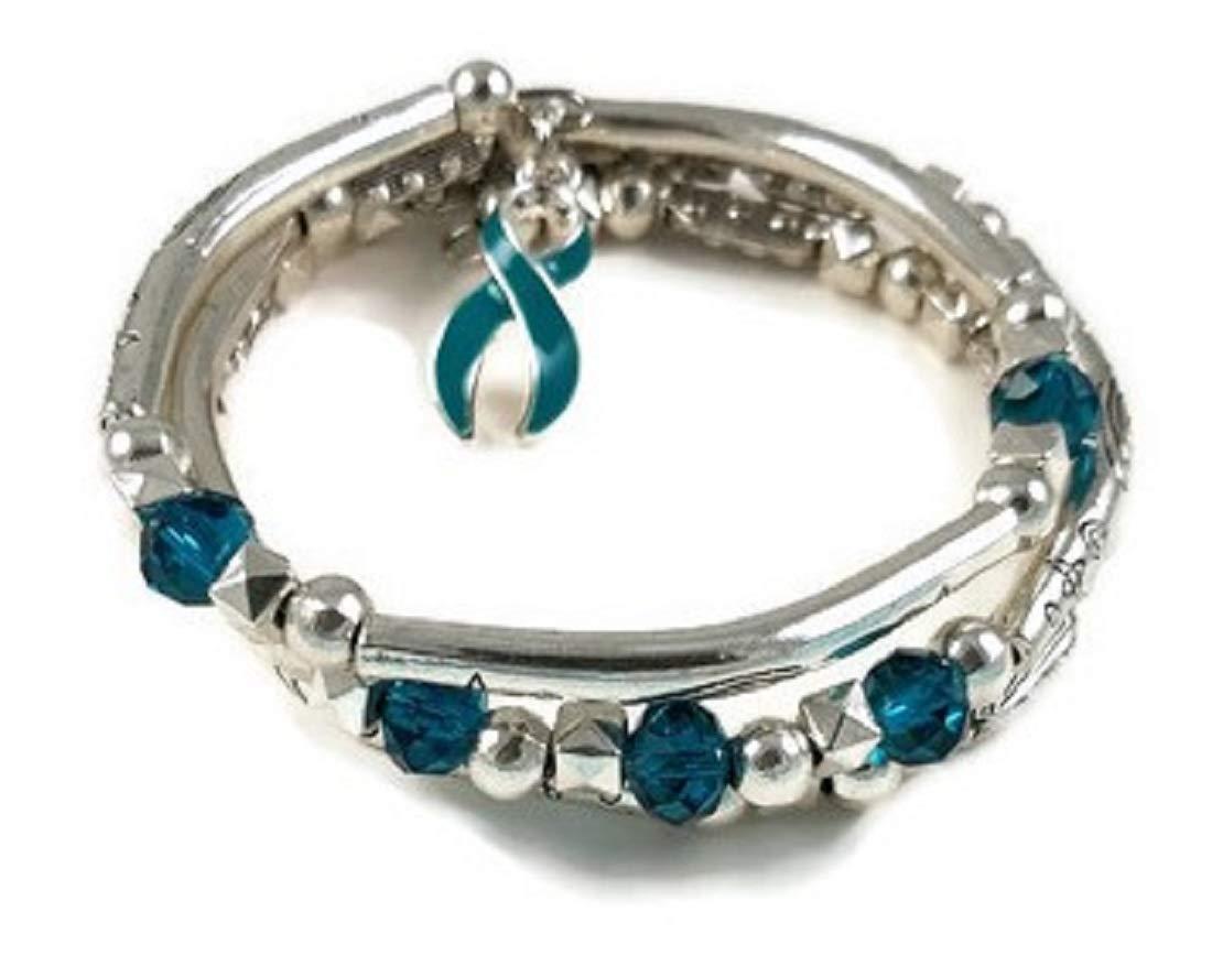 Amazon Com Ovarian Cancer Awareness Teal Swarovski Crystal Spiral Coil Wrap Bracelet 5 Teal Crystals Handmade