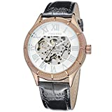 Men's Coffee and white dial Skeleton Black Genuine Leather Luxury Casual Automatic Mechanical Wristwatch