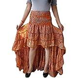 Womens Sari Skirt Orange Vingate Recycled Silk Ruffle Skirts S/M