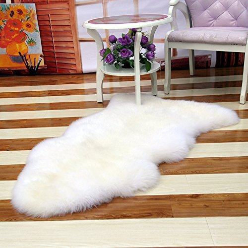 Wolala Home Super Soft Natural White Wool Bedroom Room Carpet Modern Fashion Shaggy Rugs 5 0x2 5