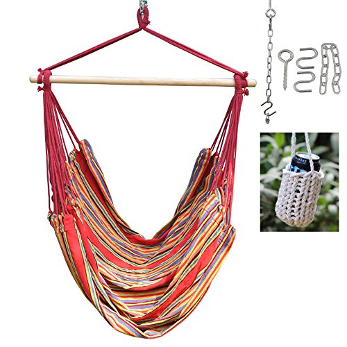 Large Red Stripe Brazilian Hammock Swing Chair - With Hanging Hooks Hardware and Free Handcrafted Drink Holder